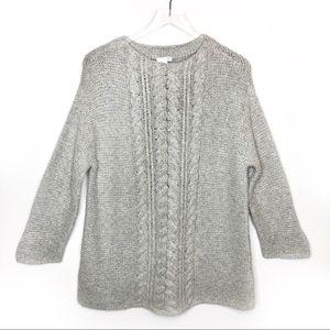 J. Jill Oatmeal Cable Knit Oversized Cozy Sweater